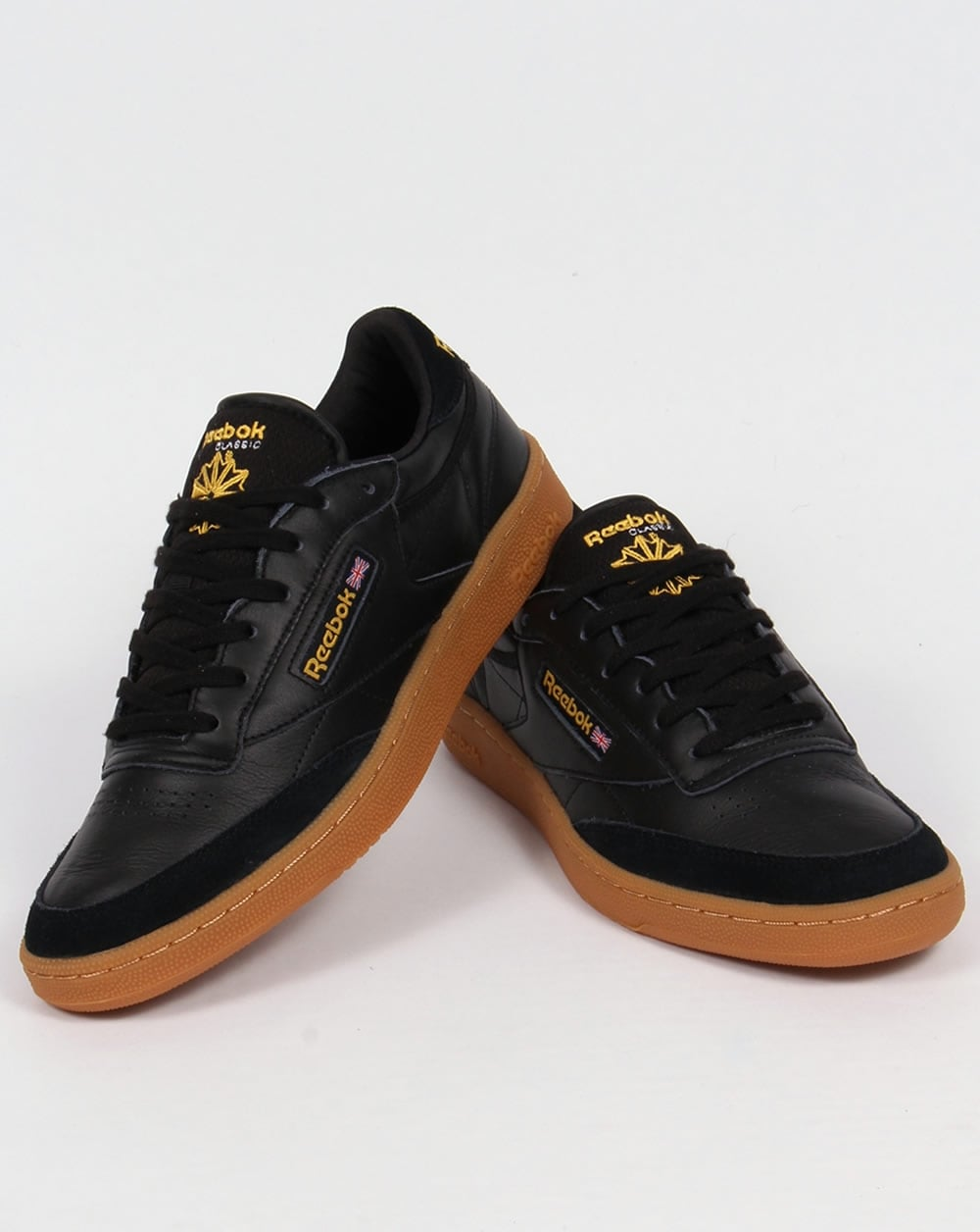 reebok club c 85 trainers black yellow shoe gum leather mens classic. Black Bedroom Furniture Sets. Home Design Ideas