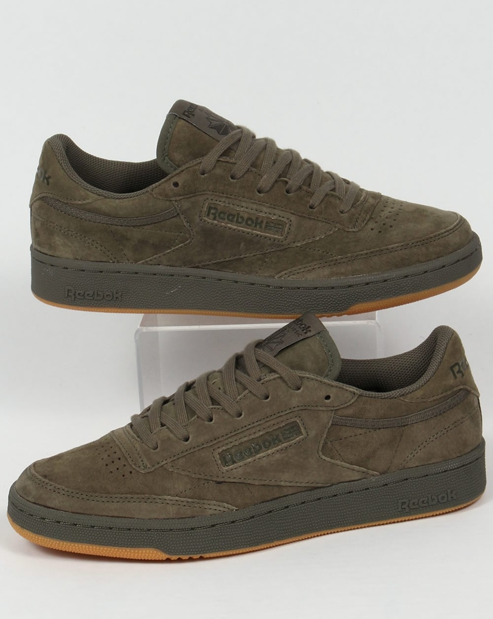 reebok club c 85 trainers hunter green shoe gum suede mens. Black Bedroom Furniture Sets. Home Design Ideas