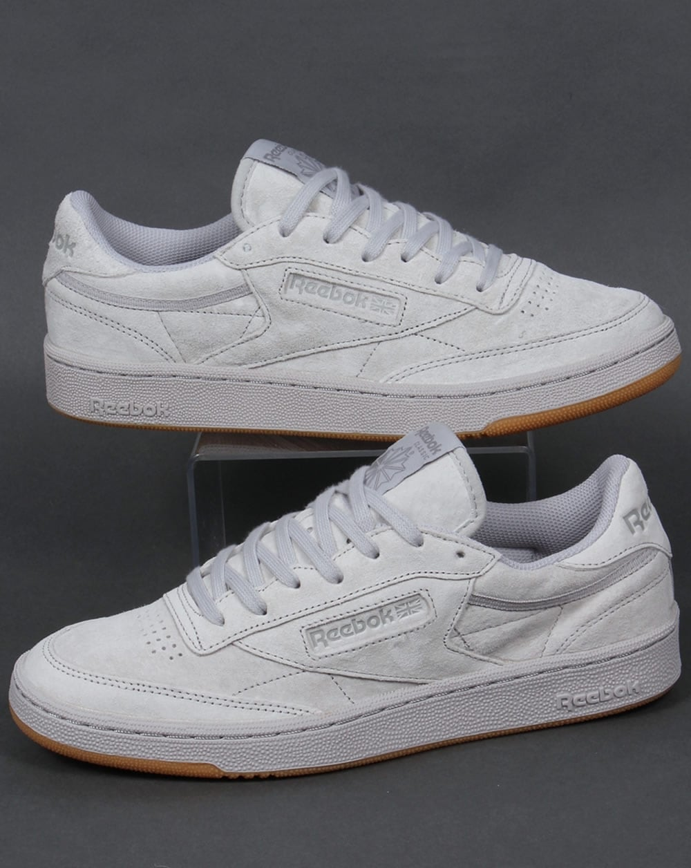 Reebok Club C 85 Trainers Steel Carbon Gum Shoe Gum Suede Mens