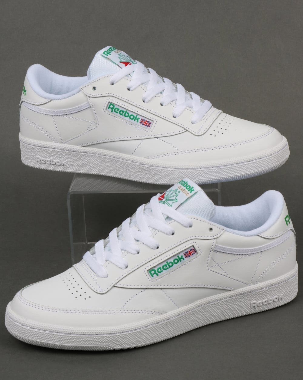0ea7a5535d8c8 Reebok Club C 85 Trainers in White and Green