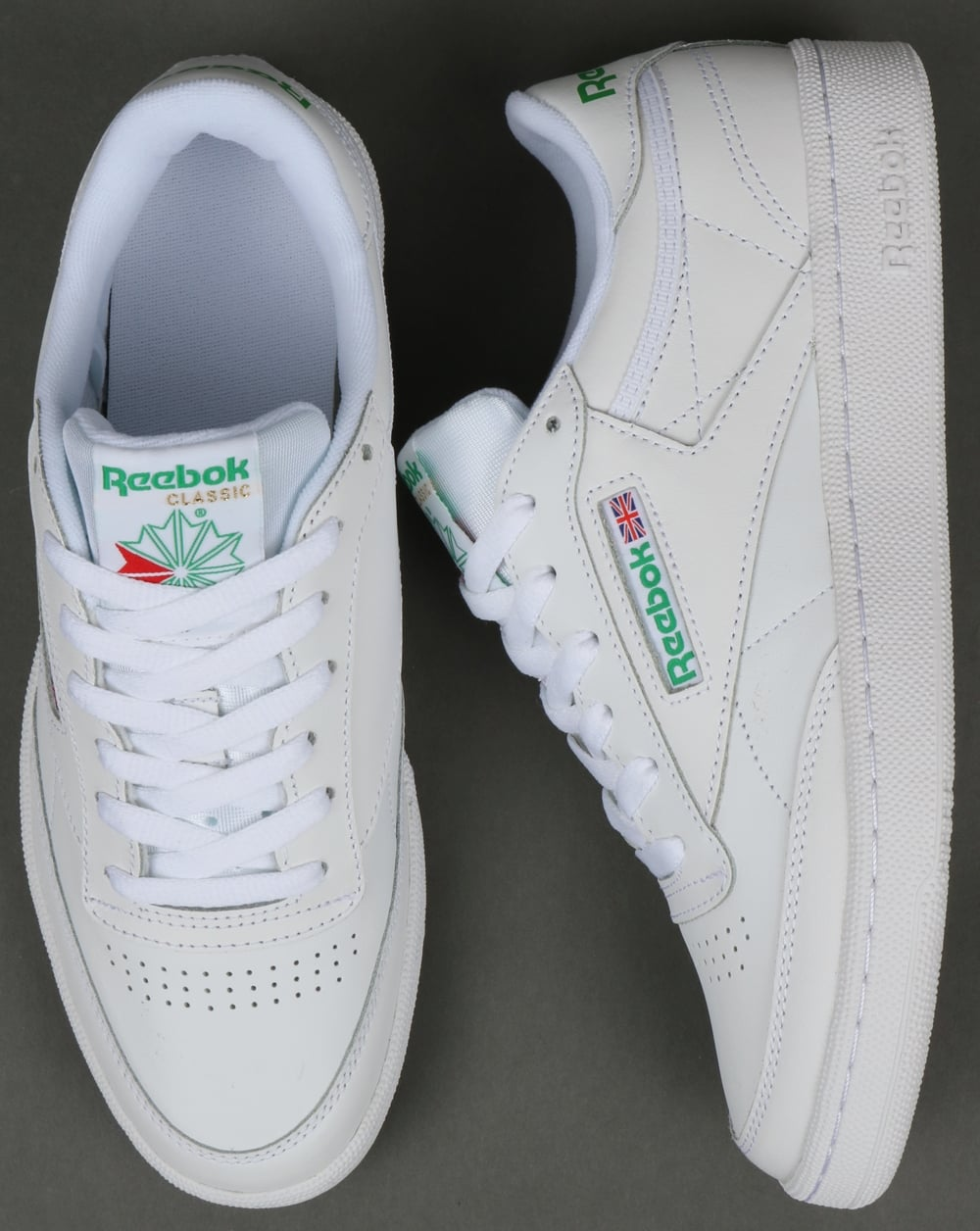 644cf40a1088c Reebok Club C 85 Trainers in White and Green