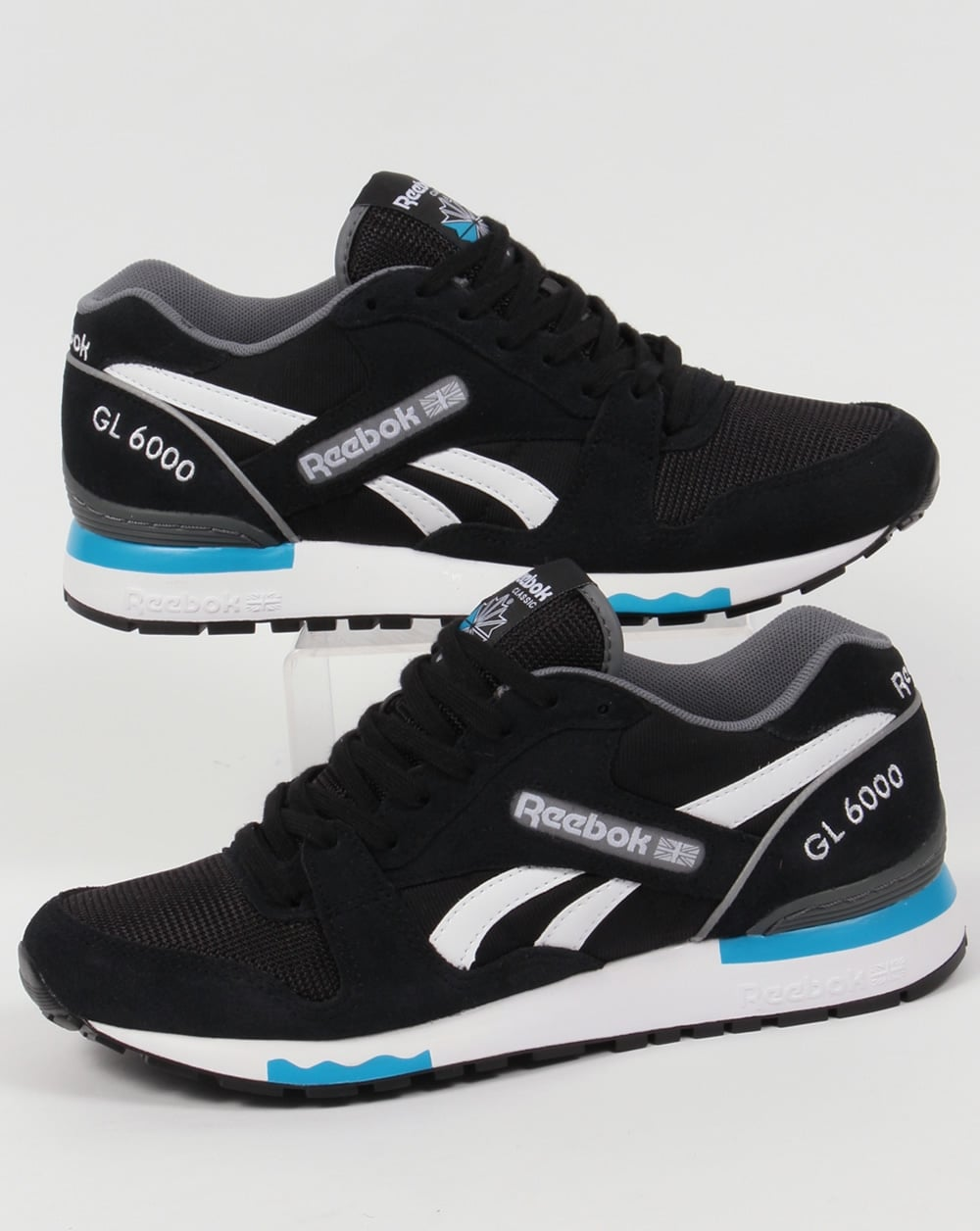 reebok gl 6000 pp trainers black alloy blue shoes runners mens. Black Bedroom Furniture Sets. Home Design Ideas