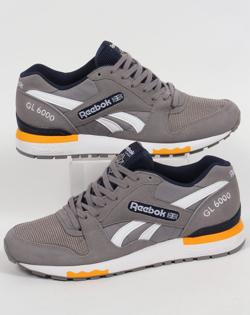 reebok gl 6000 pp trainers grey navy shoes runners mens. Black Bedroom Furniture Sets. Home Design Ideas