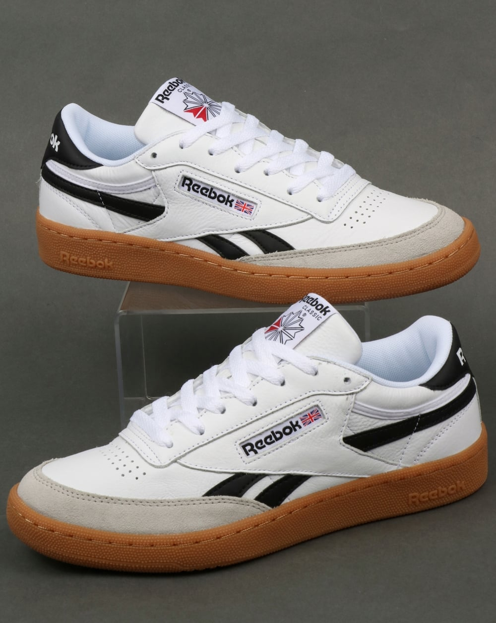Reebok Reebok Revenge Plus Gum Trainers White Snowy Grey Black 242353c66
