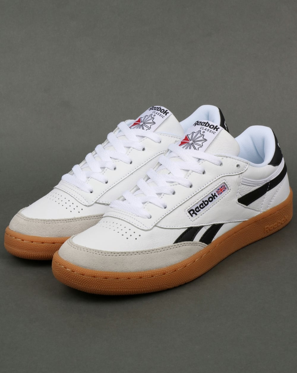 fb6ee4fe1cb Reebok Revenge Plus Gum Trainers White Snowy Grey Black