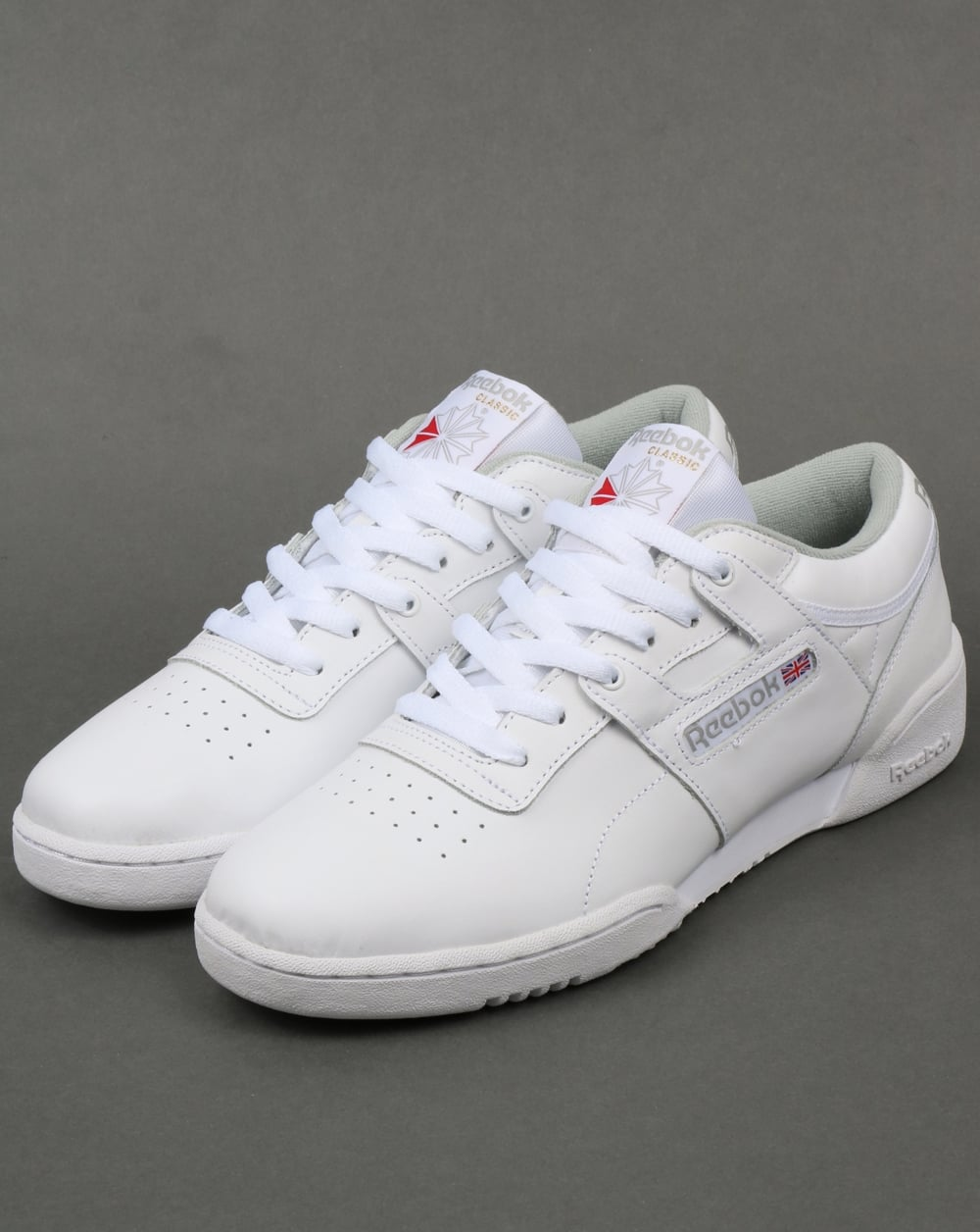cf4394e7c23 Reebok Workout Low Trainers White Grey