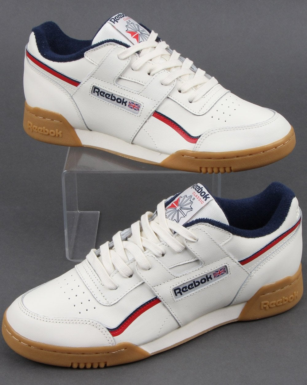reebok workout plus white trainers
