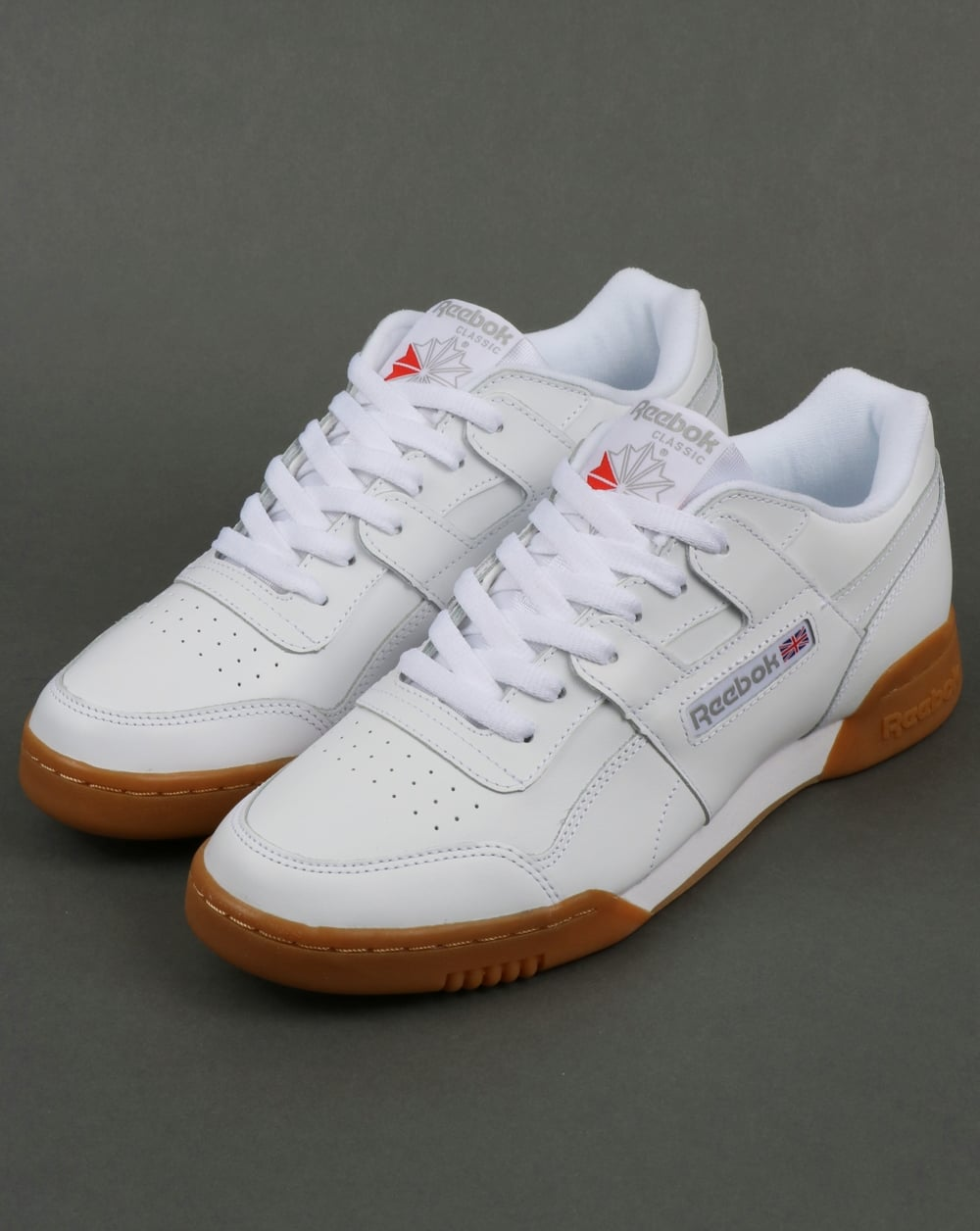 39cde3fc80e Reebok Workout Plus Trainers in White Carbon Gum