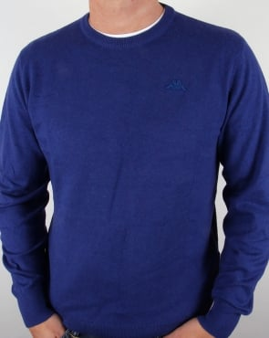 Robe Di Kappa Cotton Cashmere Crew Neck Jumper Dark Royal Blue