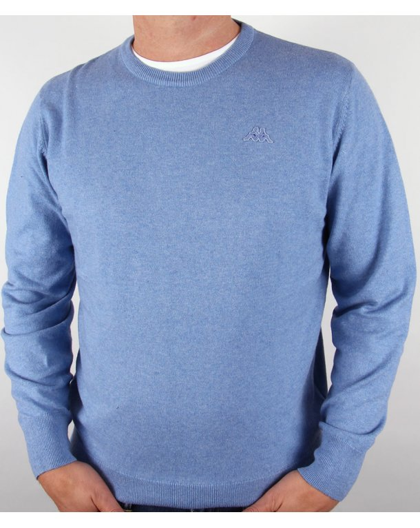 Robe Di Kappa Cotton Cashmere Crew Neck Jumper Mid Blue