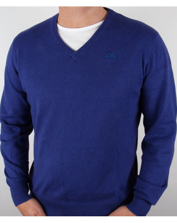 Robe Di Kappa Cotton Cashmere V-neck Jumper Dark Royal Blue