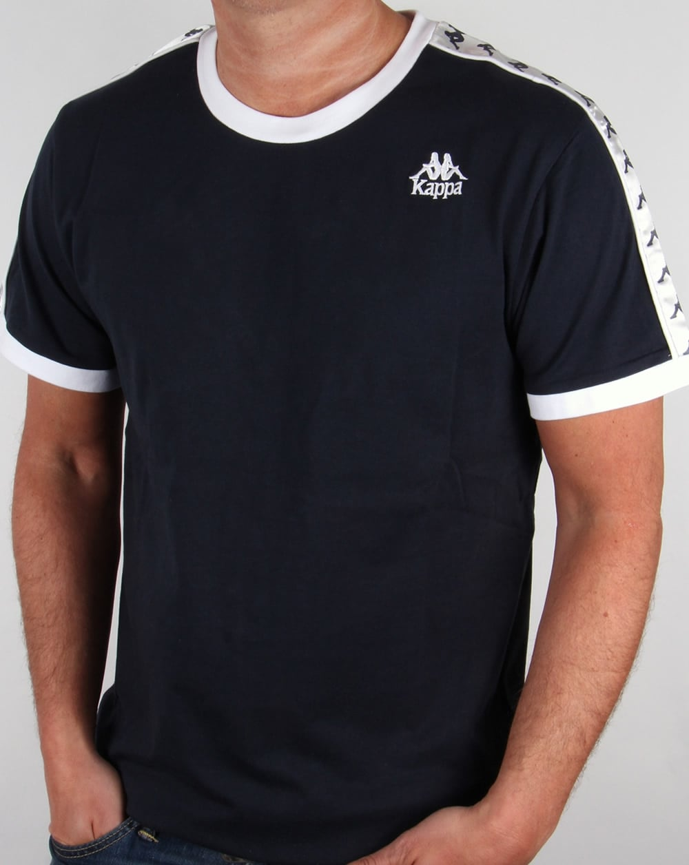sneakers for cheap 1e1d7 104e5 Robe Di Kappa Logo Ringer Taping T-shirt Navy