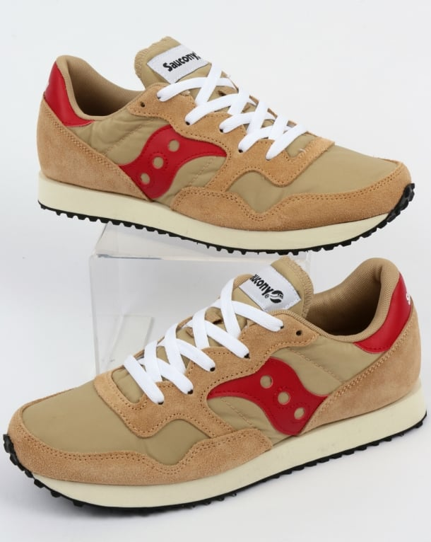 Saucony DXN Vintage Trainers Tan/Red