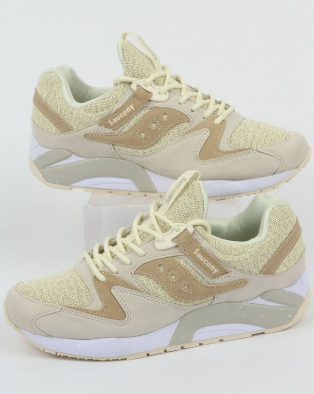 Saucony Grid 9000 Knit Trainers Cream