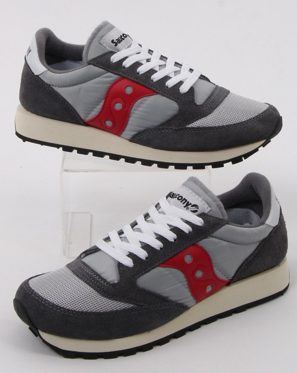 on sale 1367d 1afe2 Saucony Jazz Original Vintage Trainers Grey/red
