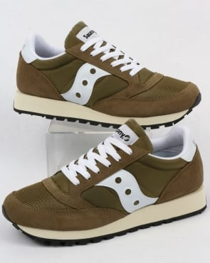 Saucony Jazz Original Vintage Trainers Olive/White