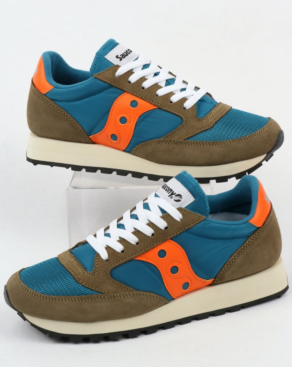 new style ac8cd 6e83b Saucony Jazz Original Vintage Trainers Teal/Olive
