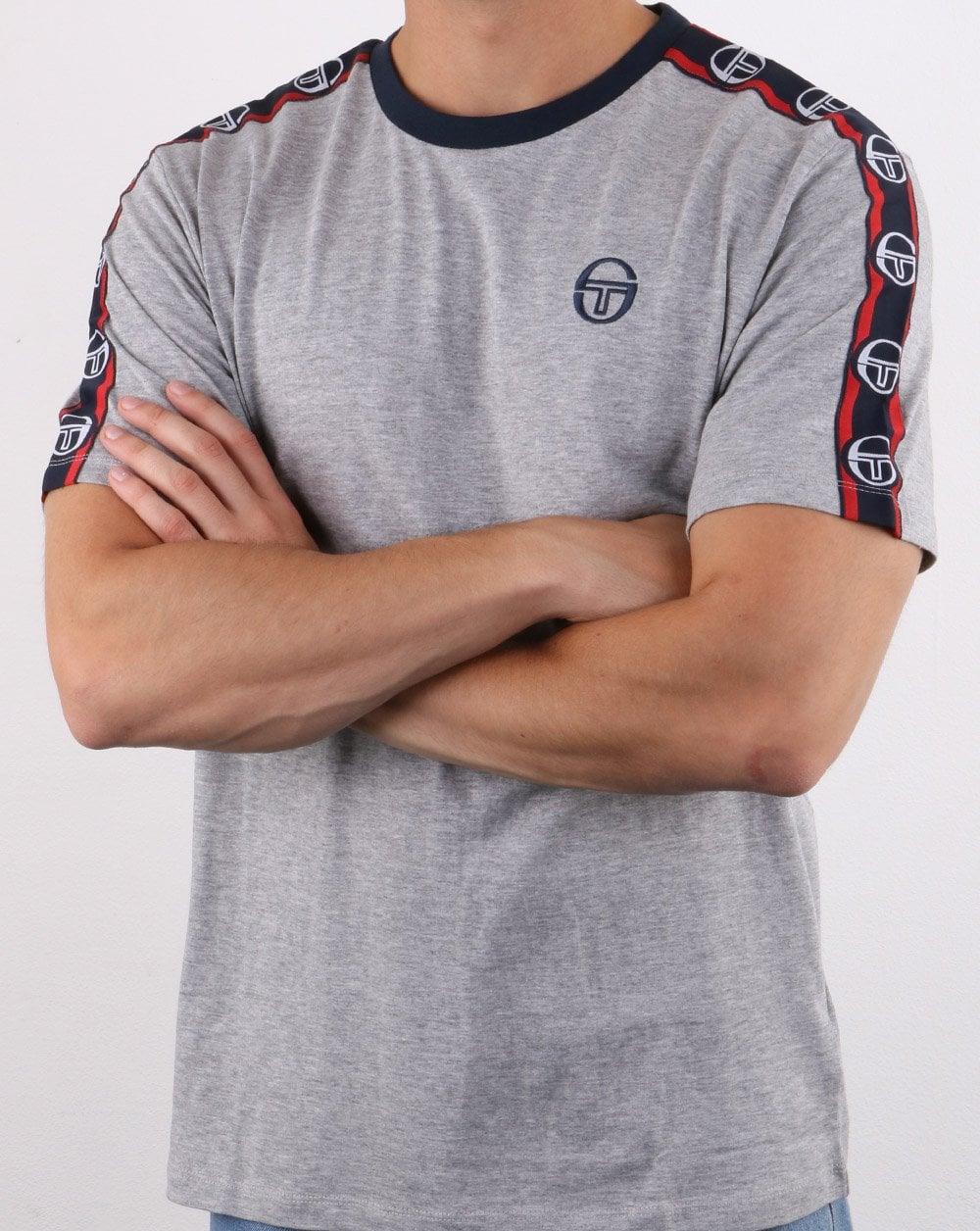 Sergio Tacchini Mens Dahoma Crew Neck T-Shirt Grey Melange//Navy Size Large