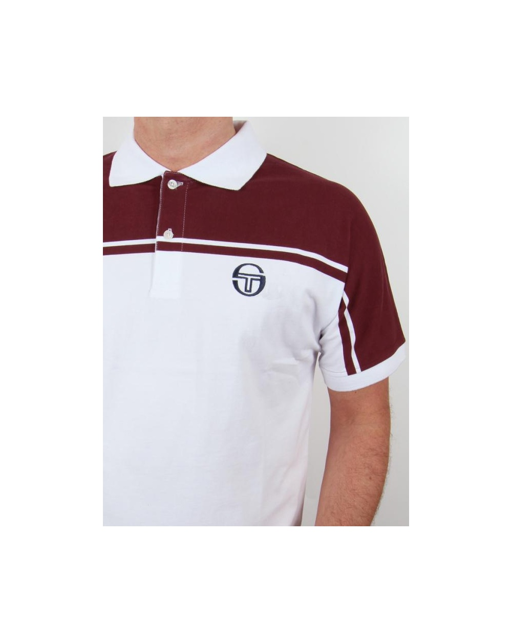 Sergio Tacchini New Young Line Polo Shirt White/burgundy - sergio ...