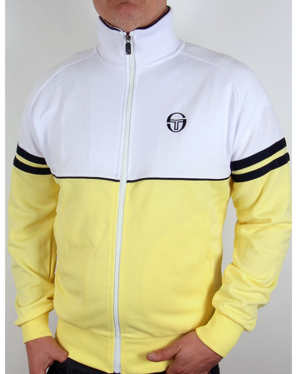 sergio tacchini orion track top white yellow navy. Black Bedroom Furniture Sets. Home Design Ideas