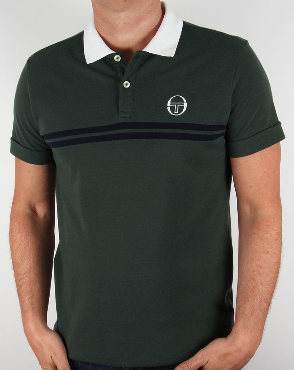 Sergio tacchini super mac polo shirt forest green white for Forest green polo shirts