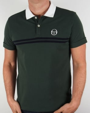 Sergio Tacchini Super Mac Polo Shirt Forest Green/White