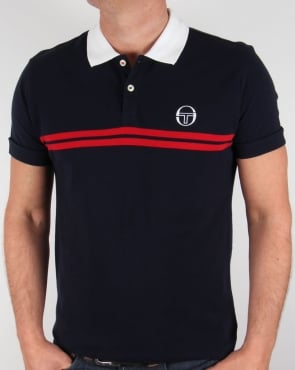 Sergio Tacchini Super Mac Polo Shirt Navy/White/Red