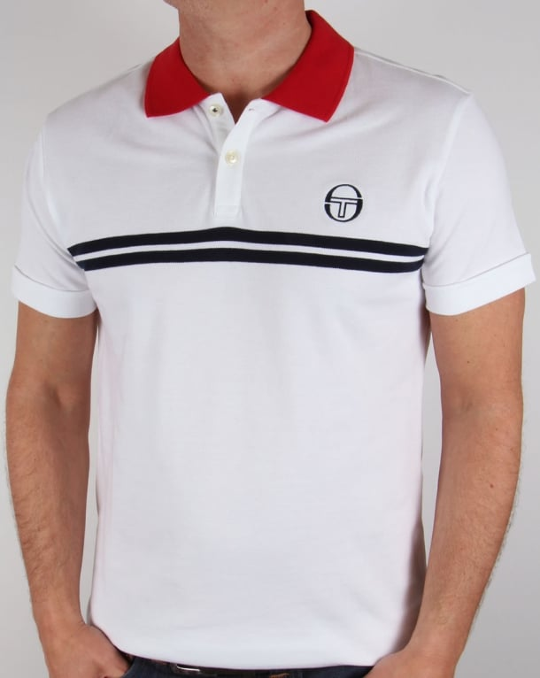 Sergio Tacchini Super Mac Polo Shirt White/Red/Navy