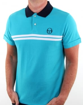 Sergio Tacchini Supermac Polo Shirt Aqua Blue/white