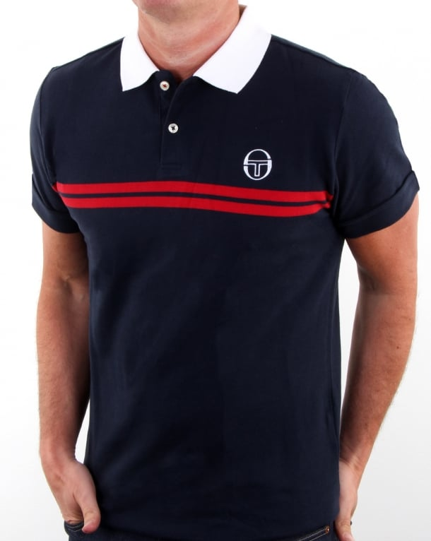 6ec34d6ee00eb Sergio Tacchini Supermac Polo Shirt Navy/red, Men's, Pique, Cotton