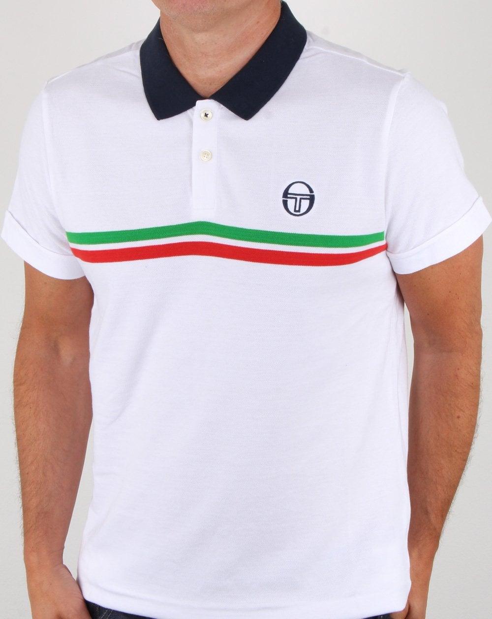 cecc6895 Sergio Tacchini Supermac Polo Shirt White/green/red, Mens, Polo,Stripe