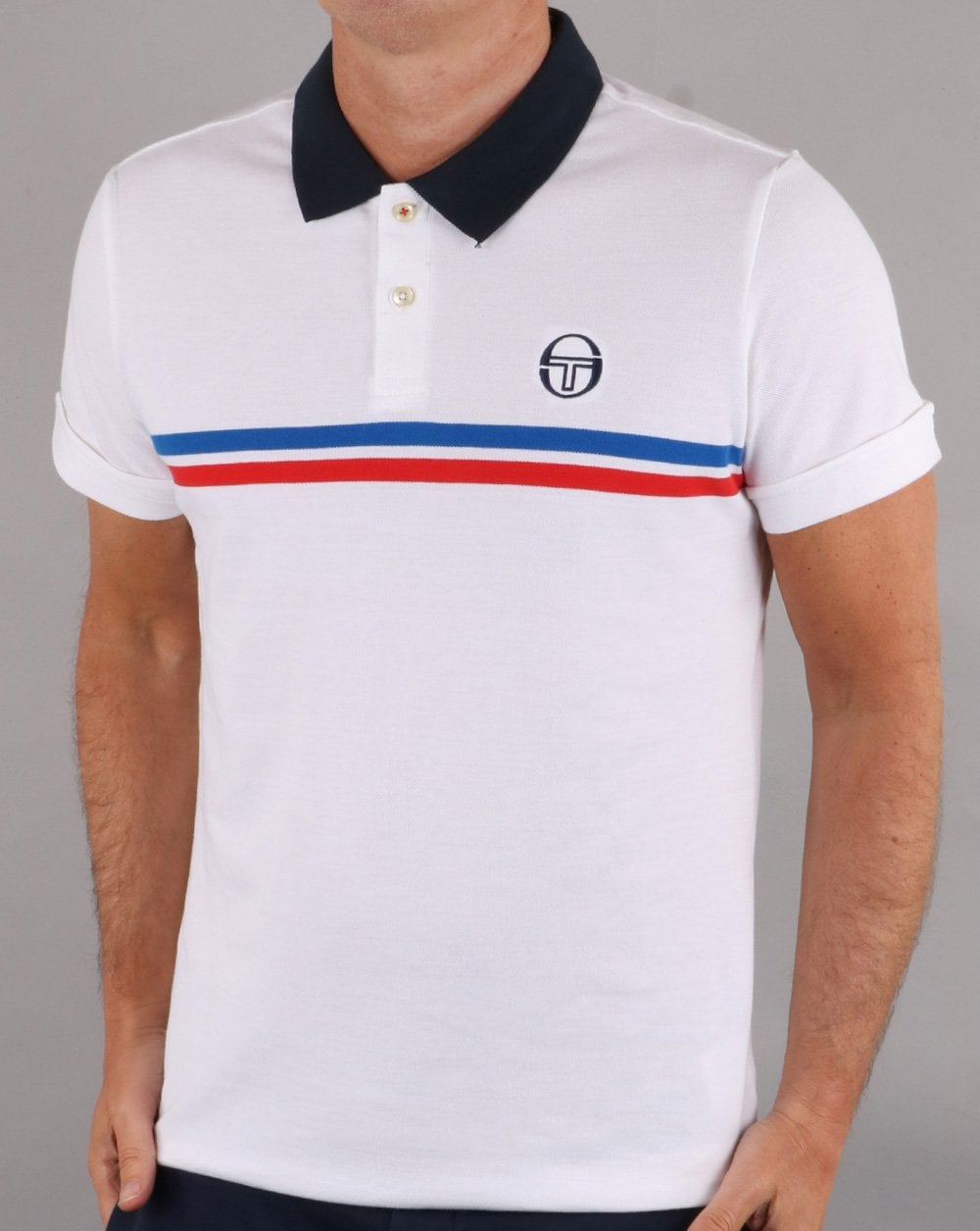 63141cc4 Sergio Tacchini Sergio Tacchini Supermac Polo Shirt White/Royal/Red