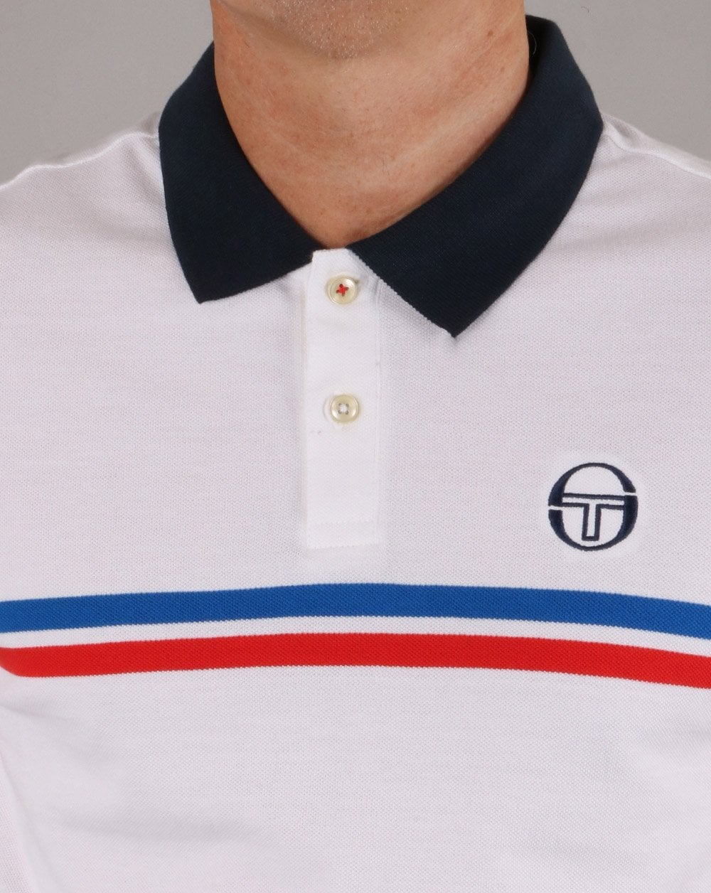a24a9ad0 Sergio Tacchini Supermac Polo Shirt White/Royal/Red | 80s casual
