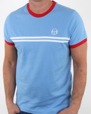 Sergio Tacchini Supermac T-shirt Sky/red/white