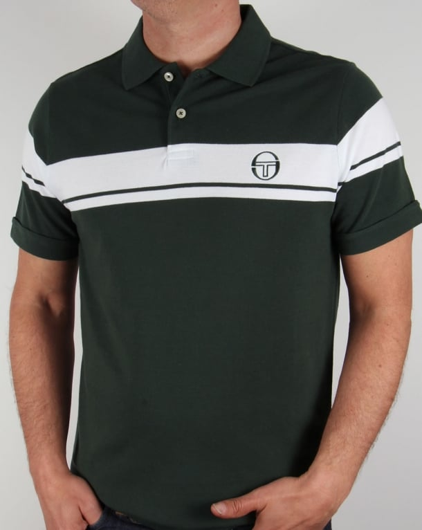 Sergio Tacchini Young Line Polo Shirt Forest Green/White