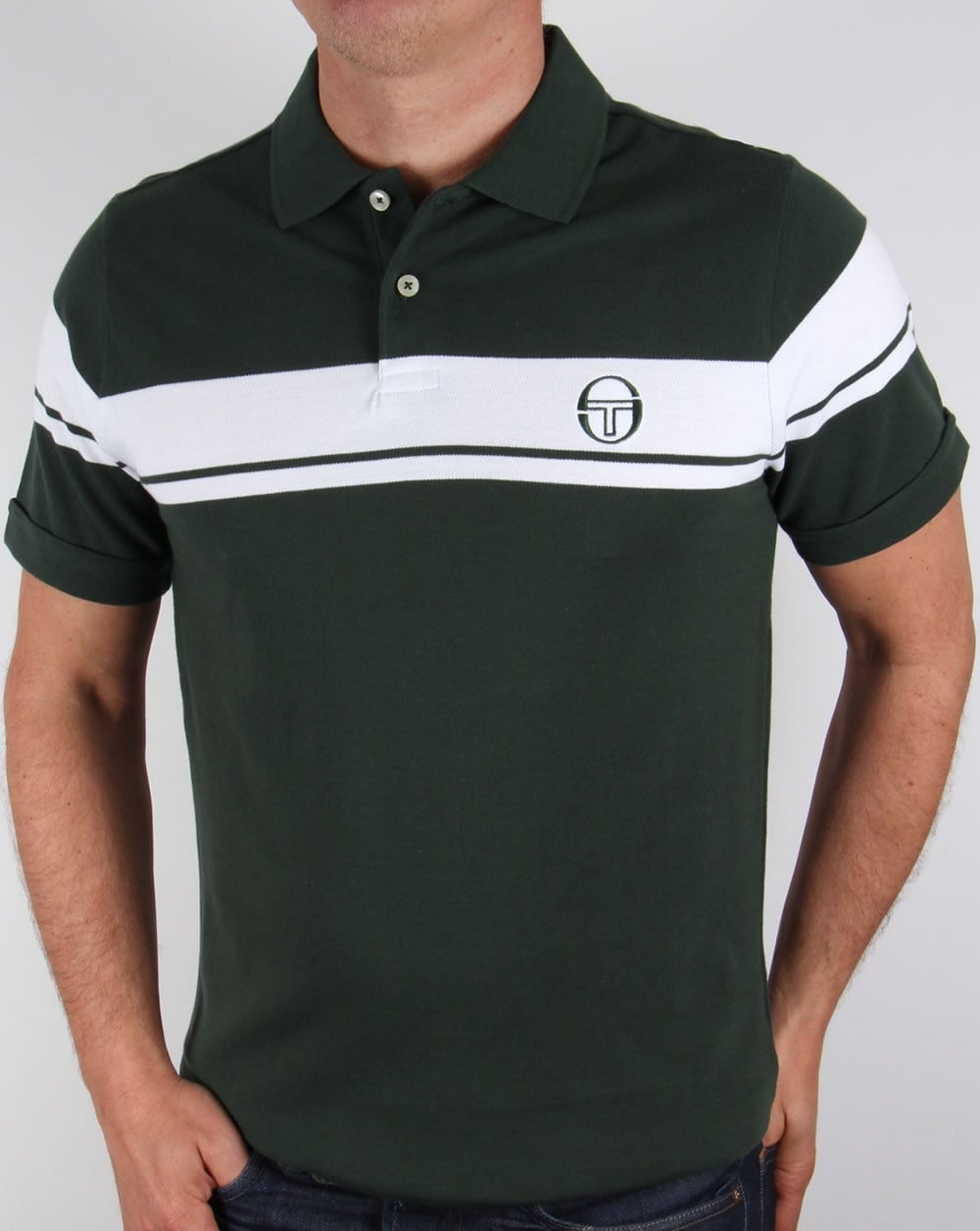 Sergio tacchini young line polo shirt forest green white for Forest green polo shirts