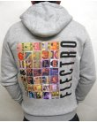 Street Sounds Back Print Zip Through Hoodie Grey