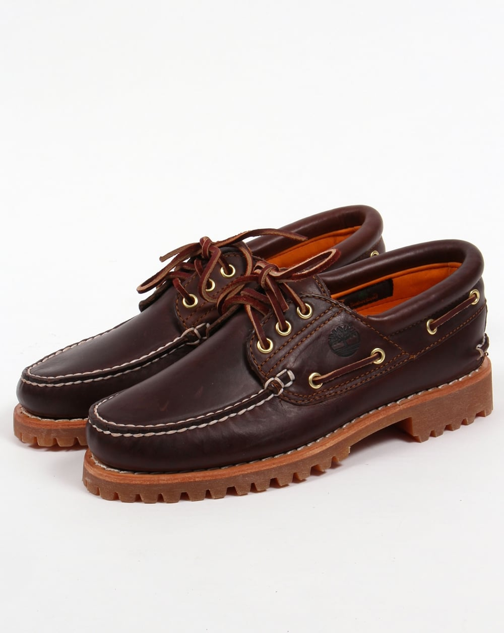 Timberland 3 eye classic lug shoes brown boots boat deck mens for Classic 3