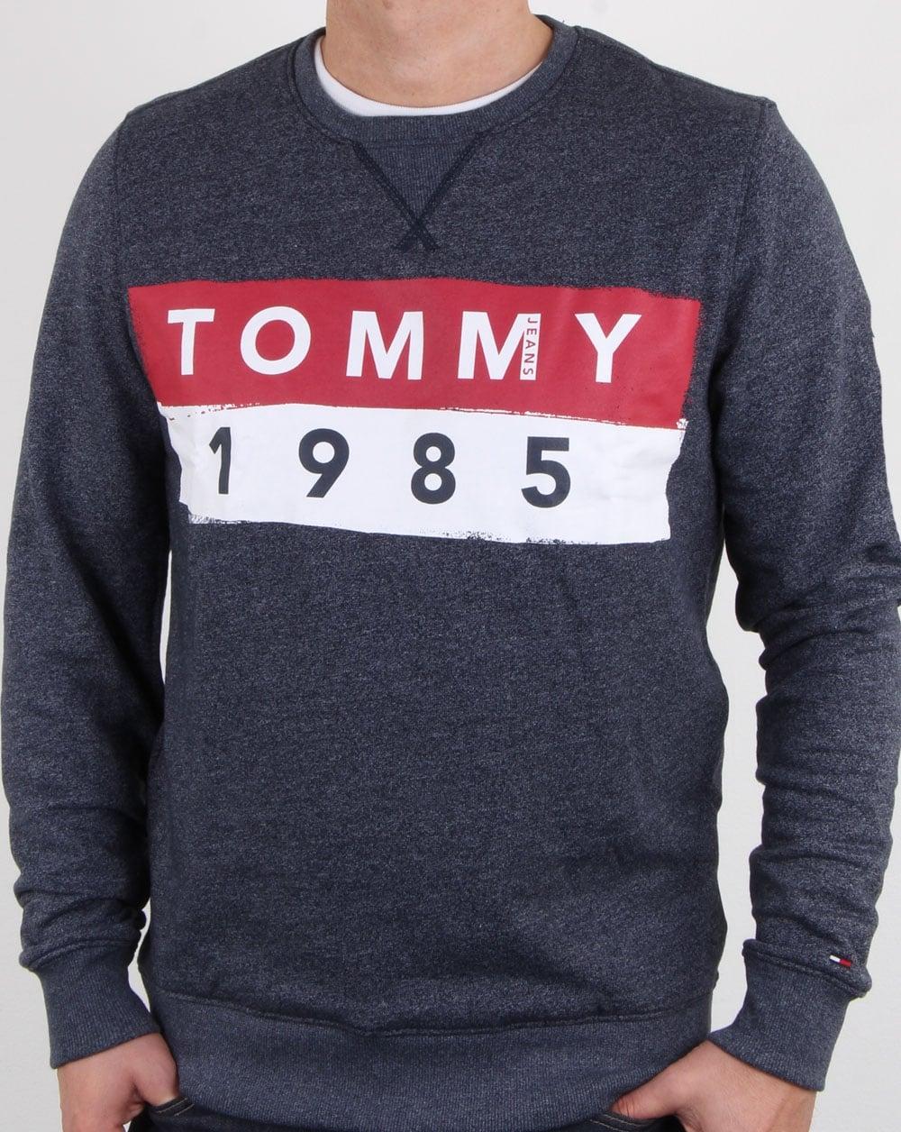 440abae1 Tommy Hilfiger 1985 Logo Sweatshirt Navy, Mens, Crew Neck, Ribber