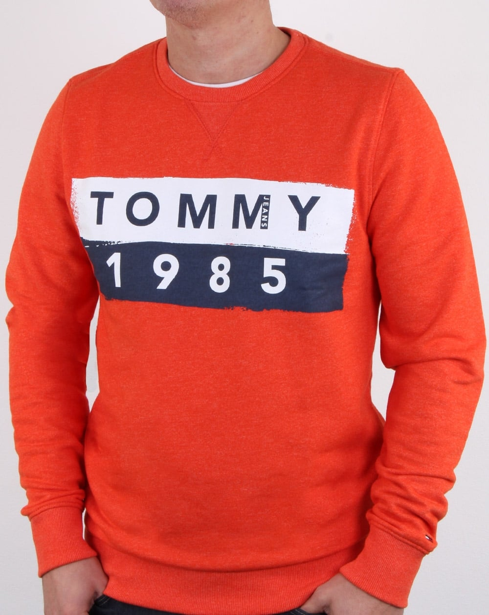 7c8d79f7 Tommy Hilfiger 1985 Logo Sweatshirt Orange, Mens, crew neck, cuffs