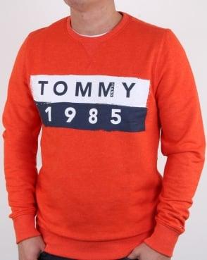 Tommy Jeans Tommy Hilfiger 1985 Logo Sweatshirt Orange