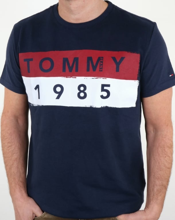 tommy hilfiger 1985 logo t shirt navy tee cotton crew neck. Black Bedroom Furniture Sets. Home Design Ideas