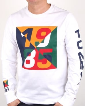 Tommy Jeans Tommy Hilfiger 1985 Print Ls T Shirt White