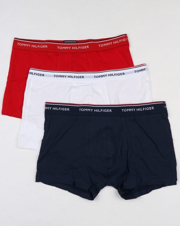 Tommy Hilfiger 3 Pack Boxer Shorts White/Red/Navy