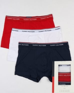 Tommy Jeans Tommy Hilfiger 3 Pack Boxer Shorts White/Red/Navy