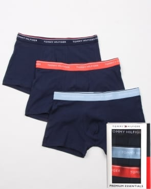 Tommy Jeans Tommy Hilfiger 3 Pack Trunks Navy/Sky/Coral