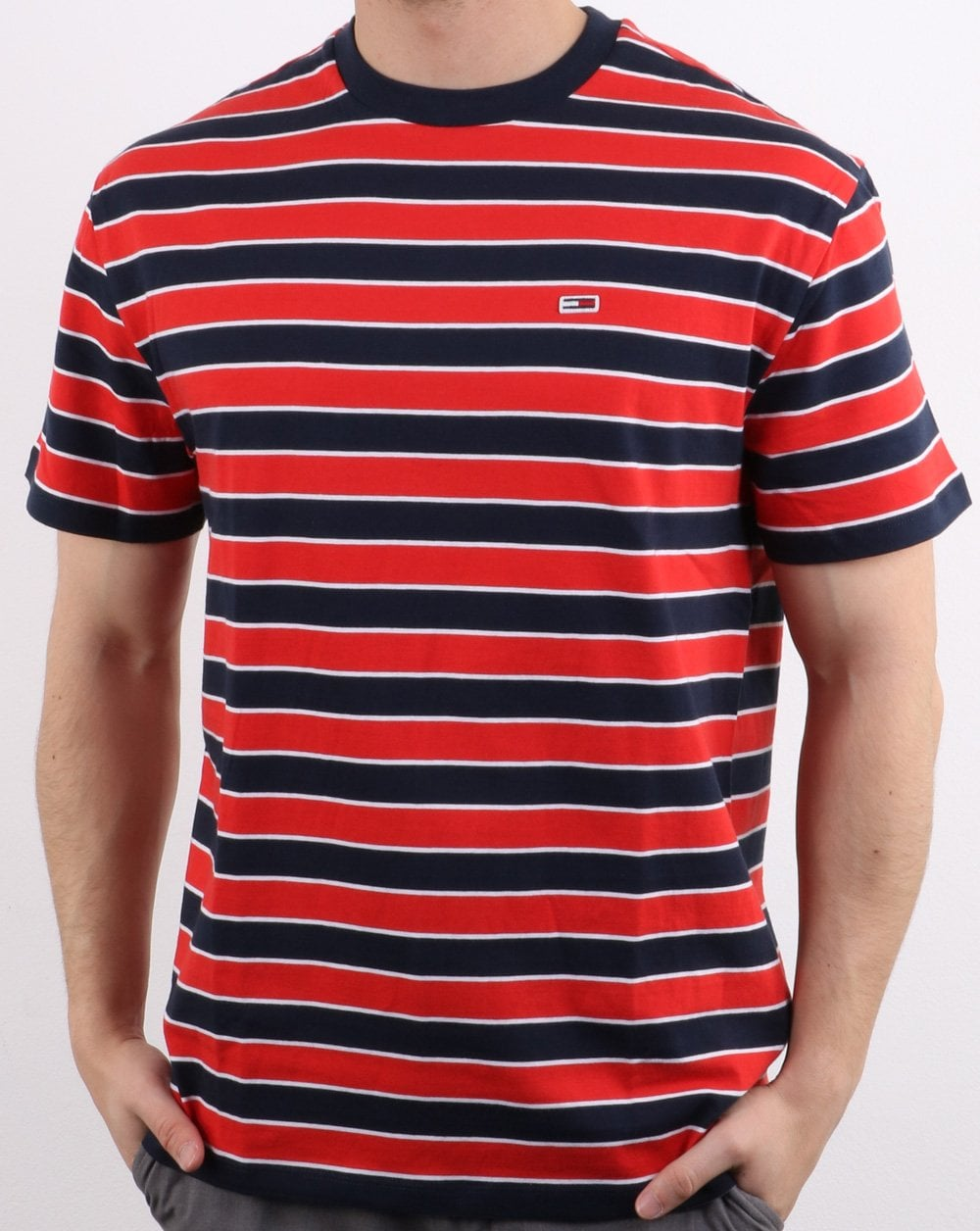 dfd74469 Tommy Hilfiger Striped T Shirt in Red and Navy   80s Casual Classics