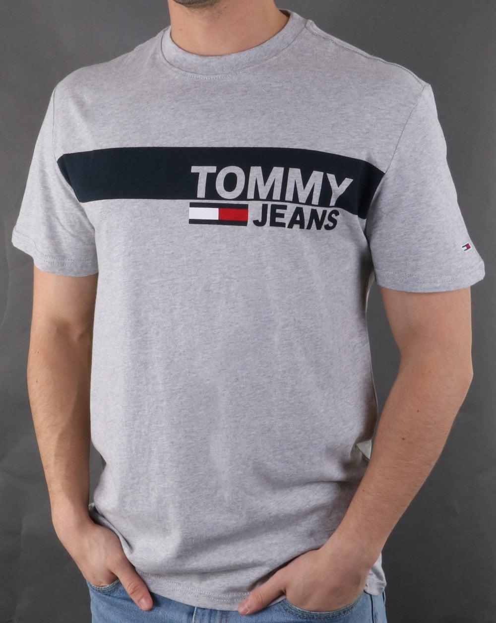 896b57b8423ae Tommy Hilfiger Jeans Tommy Hilfiger Box Logo Tee Light Grey Heather