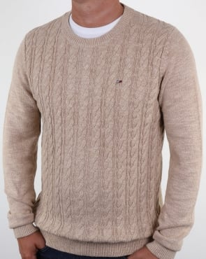 Tommy Hilfiger Jeans Tommy Hilfiger Cable Knit Jumper Bone White