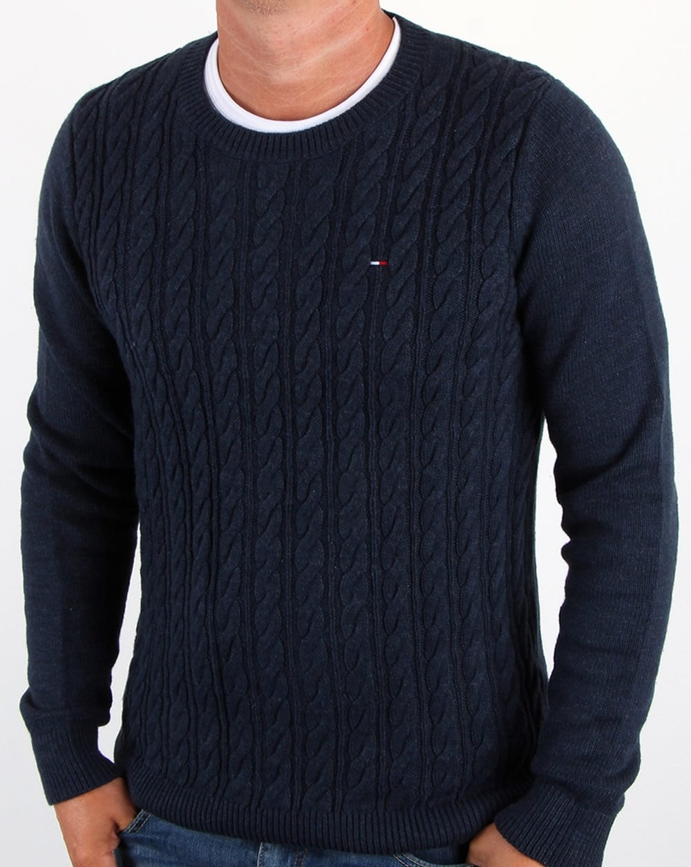 fba61806e35 Tommy Hilfiger Cable Knit Jumper Navy,blue,crew neck,sweater,top,mens